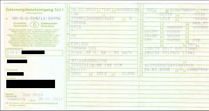 KFZ-Schein - Zulassungsbescheinigung